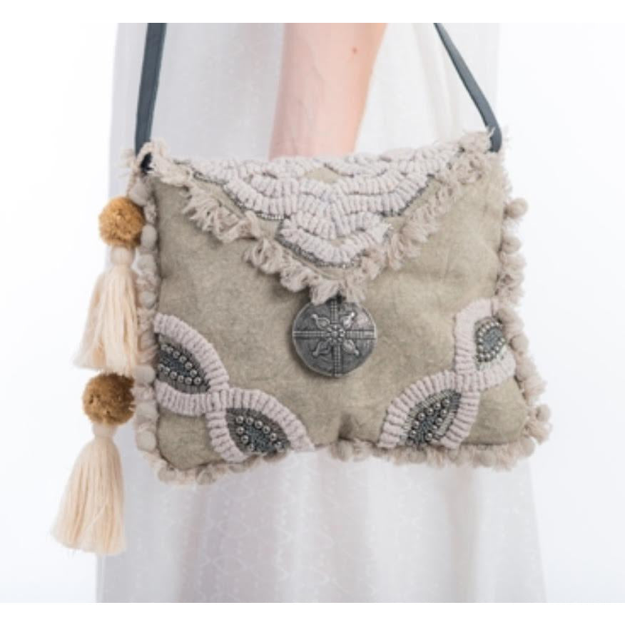 taupe embellished bag