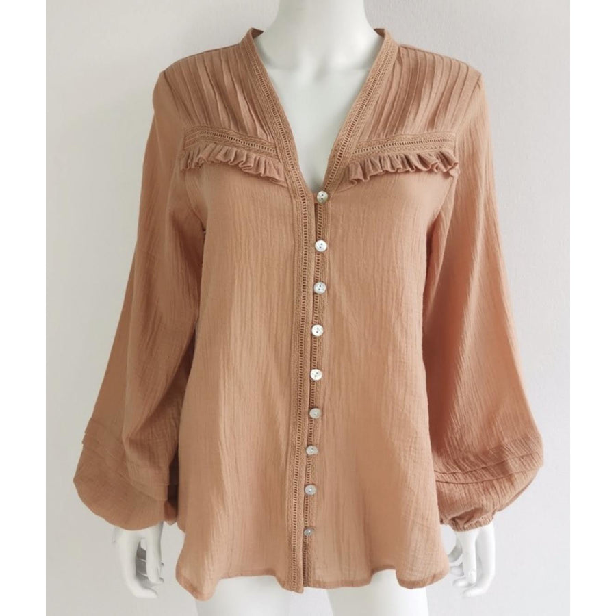 terracotta button up blouse