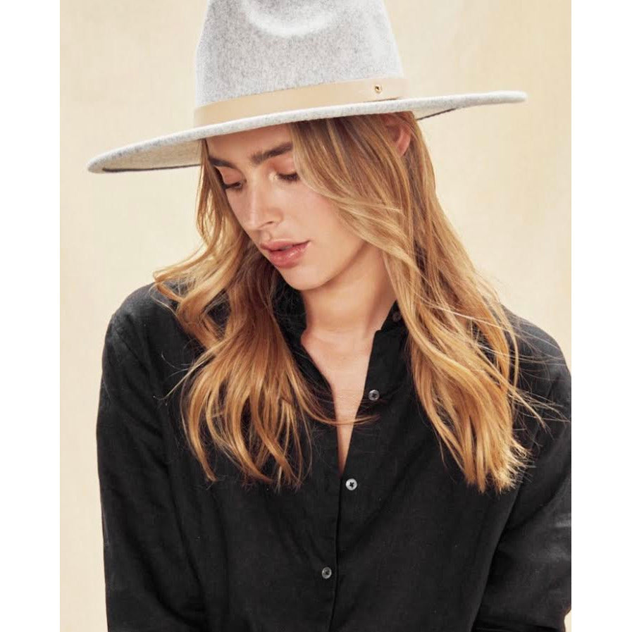 jendayi fedora hat with leather  trim