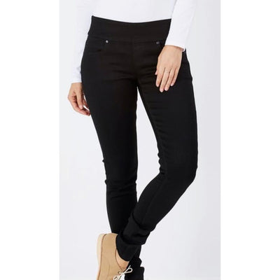 mid rise pull on skinny jeans - blk