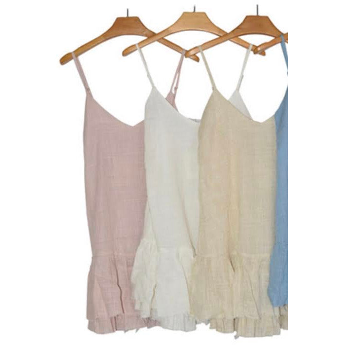 raw hem linen slip dress