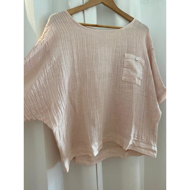 linen tuesday top - blush - one size