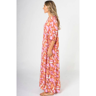 ruffle maxi dress in coral reef