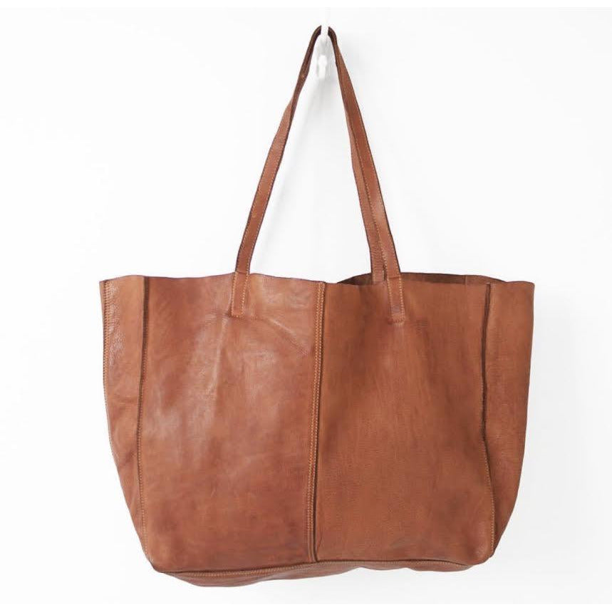 Unlined leather tote V2- B9689- Cognac