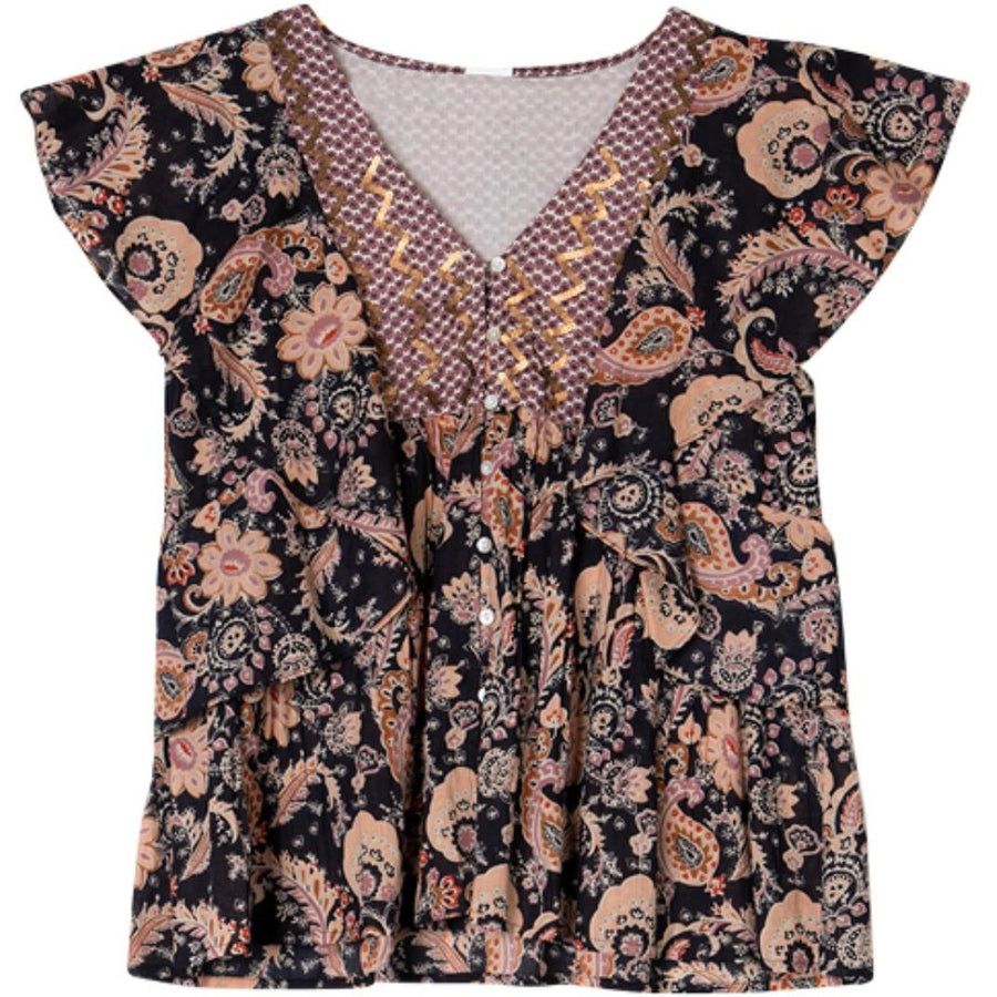printed cotton frill top