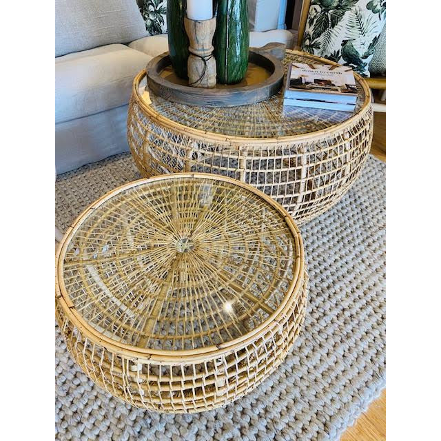 small rattan glass top table