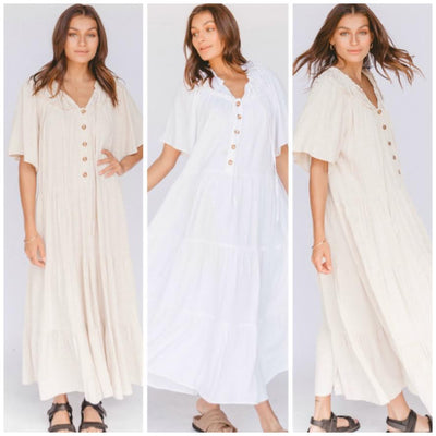 nikita maxi dress - linen cotton blend