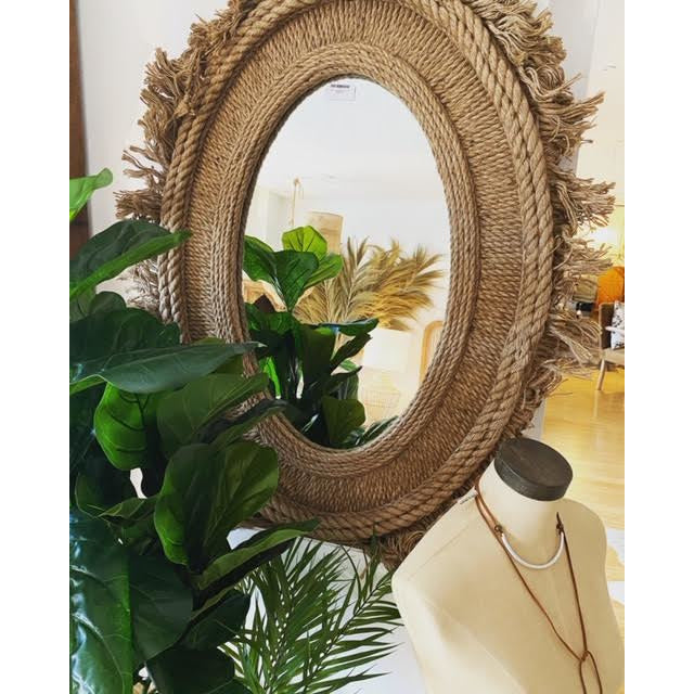 holder jute oval wall mirror