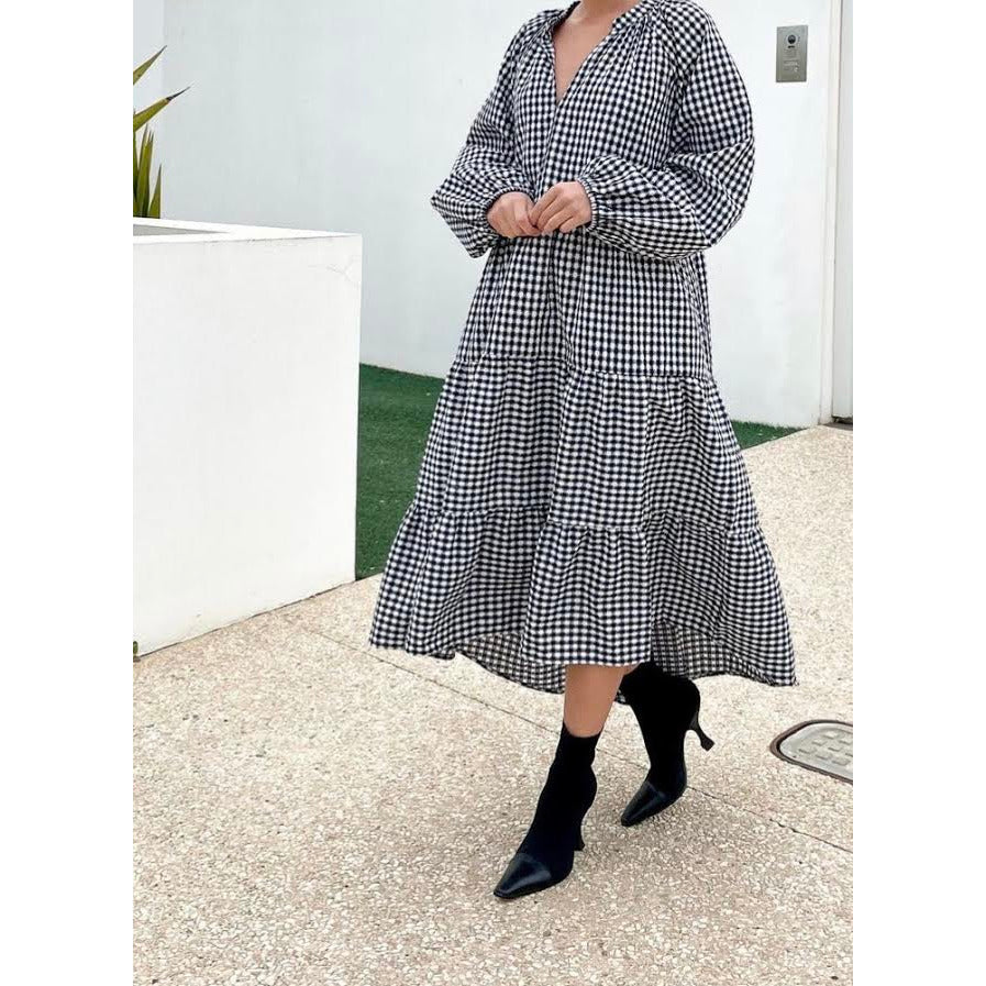 black + white gingham dress - one size