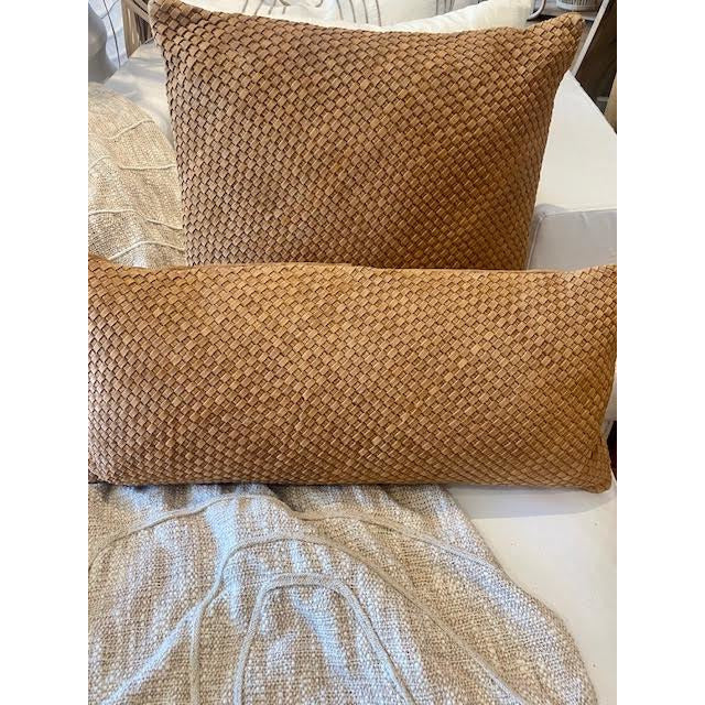 braided leather cushion - tan
