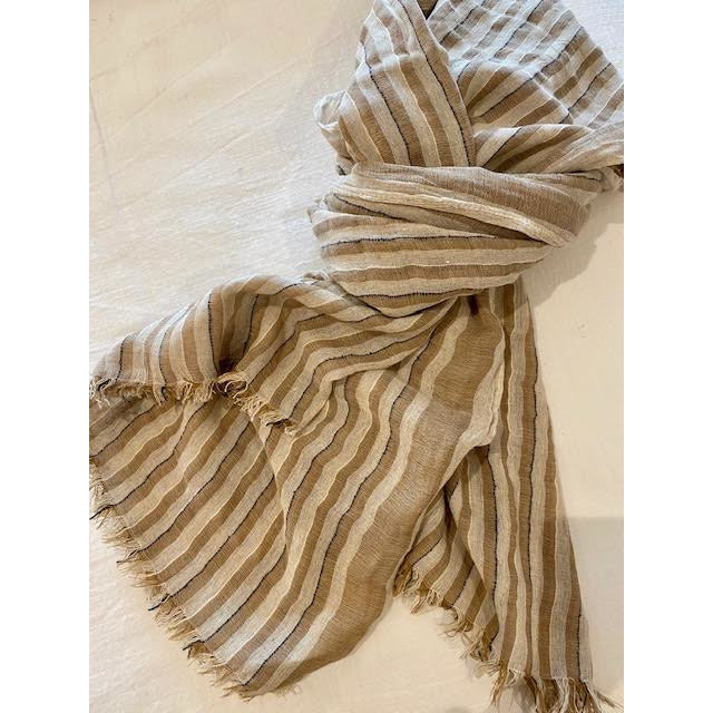 tabitha scarf natural stripe