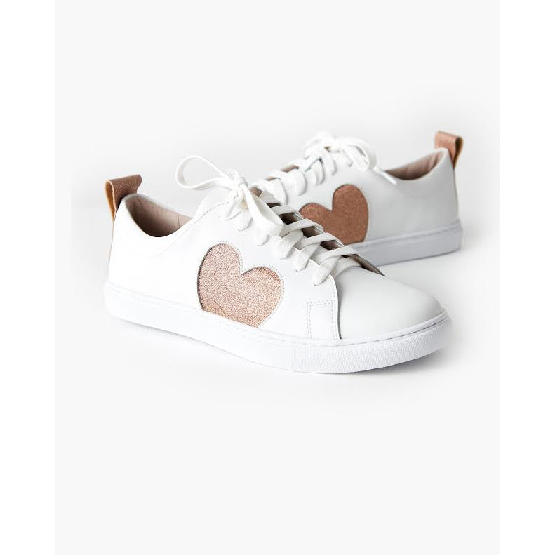 heart leather sneaker - rose glitter
