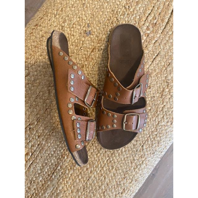 handmade leather slides- buckles and bronze studs - tan