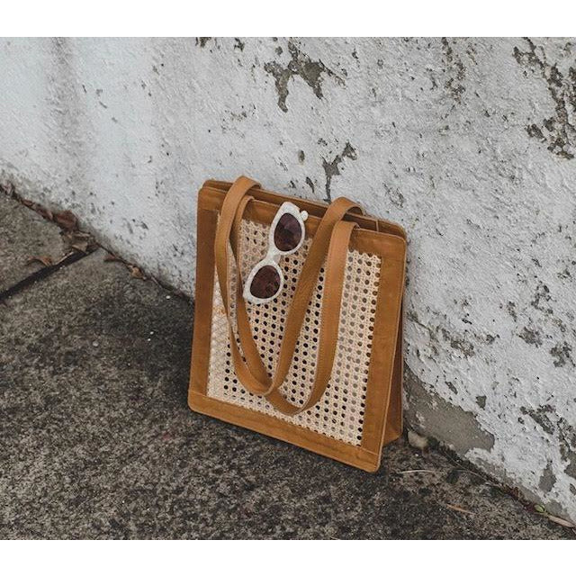 Rattan leather Everyday tote-tan