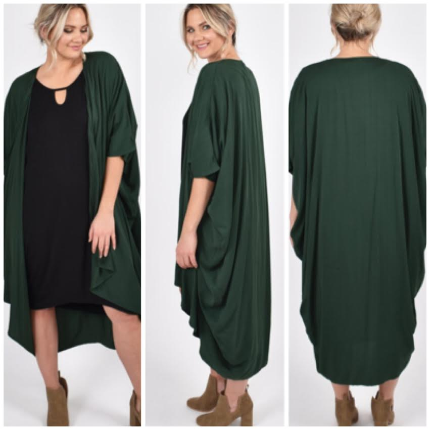 kimono - forest green /one size - 521h38s01