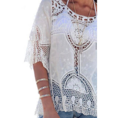 shantung lace doily top - one size