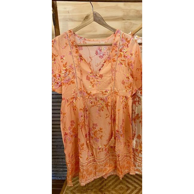 peach blossom dress with tassle