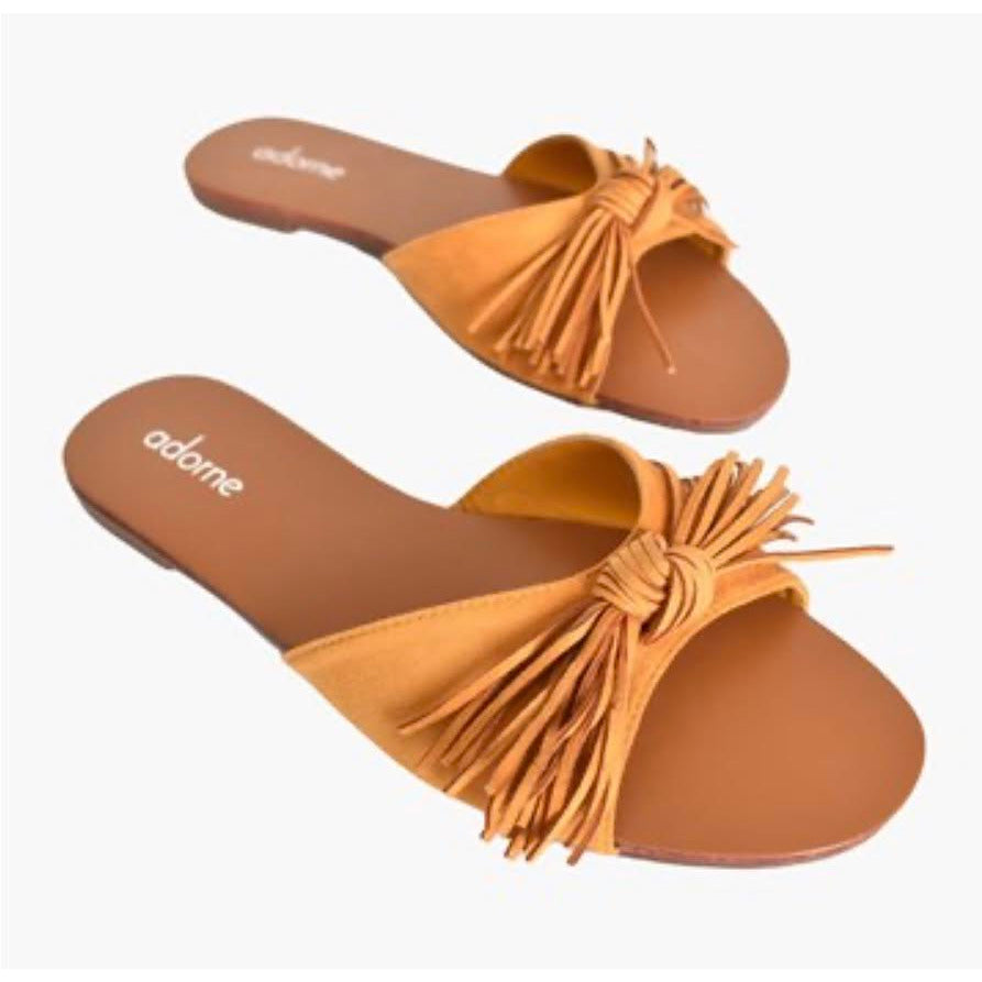 suede fringed bow slides - mustard