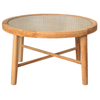 natural wood coffee table with tempered glass top