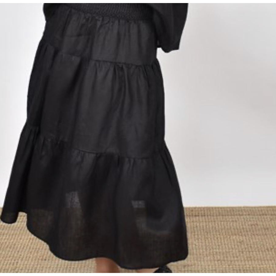 mia tired linen skirt - black