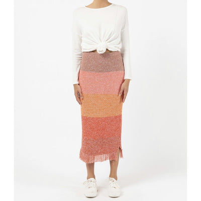 stripe knit skirt - earth