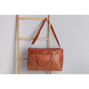 woven weekender bag walnut leather