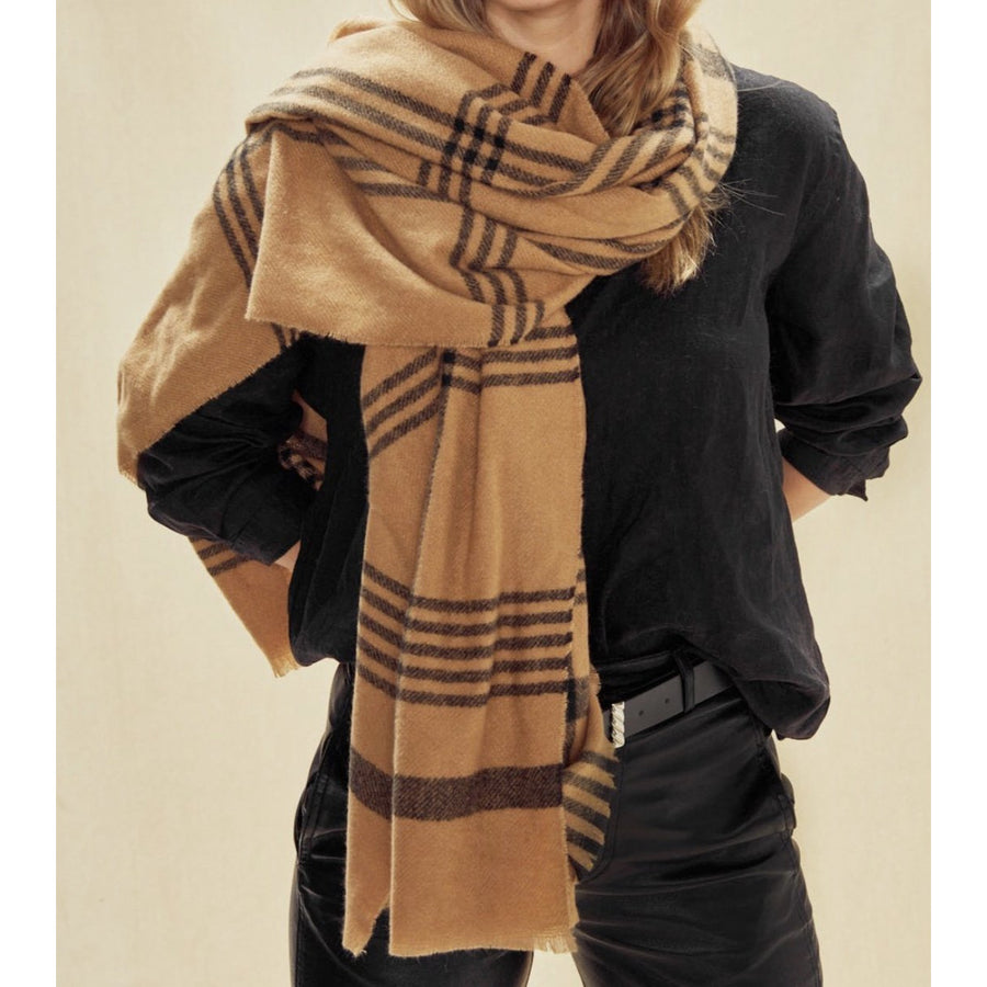 tan plaid frayed edge scarf - 6582