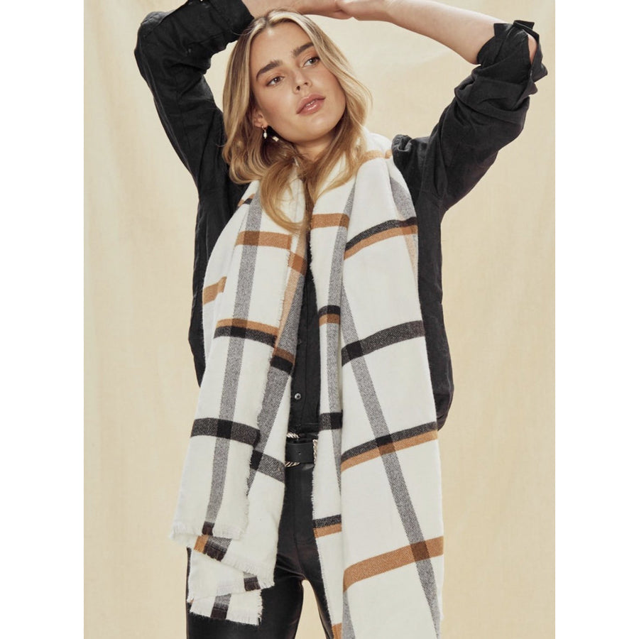 white multi plaid frayed edge scarf - 6583