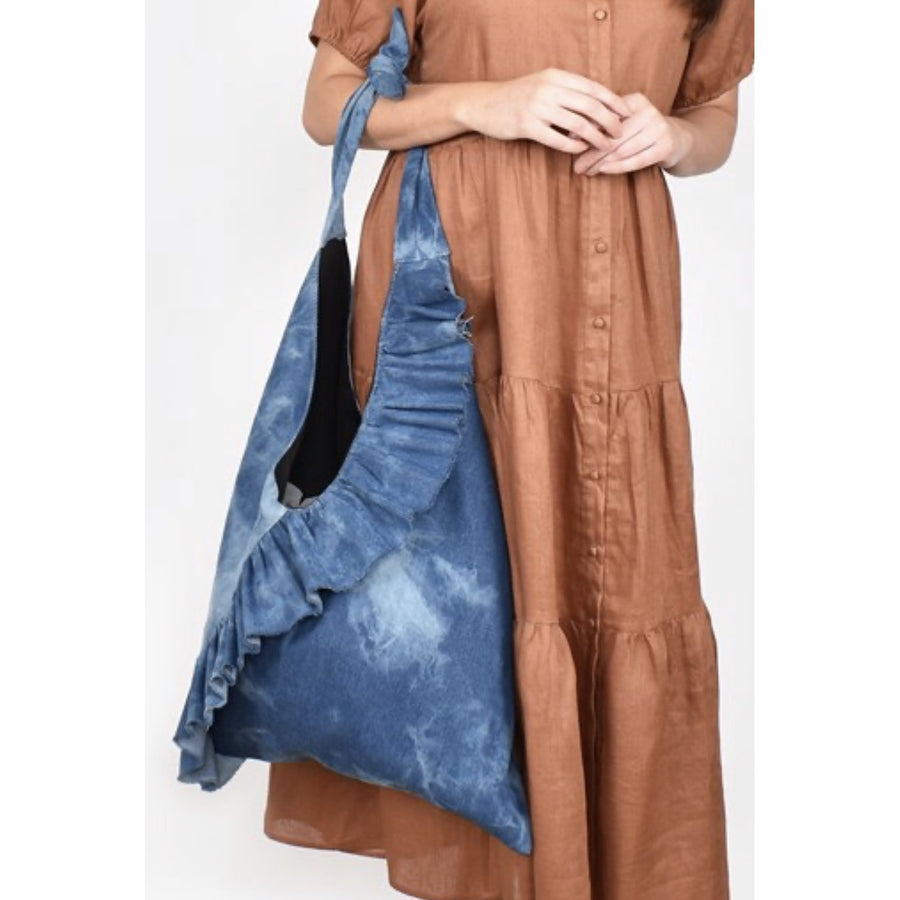 mara frilled denim shoulder bag