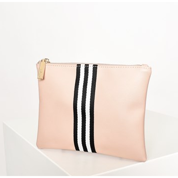 striped webbing centre zip top pouch - AVD-1102-NUDEMONO