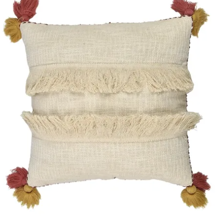 macawi cotton cushion - sof0846 ivory/blush