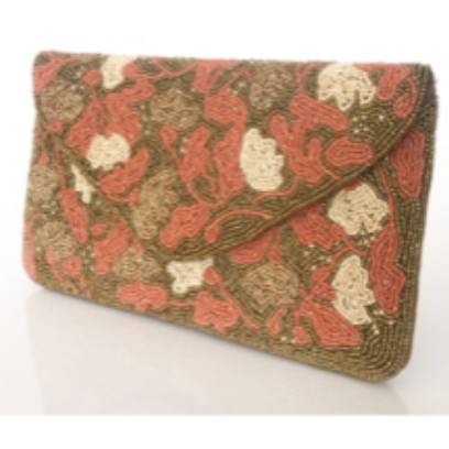 hand beaded petals clutch- coral/gold