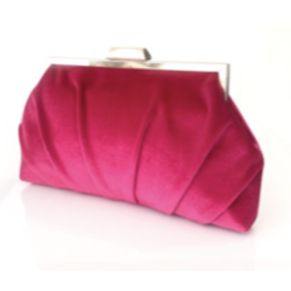 pleated velvet frame clutch- hot pink
