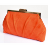 pleated micro suede frame clutch- orange