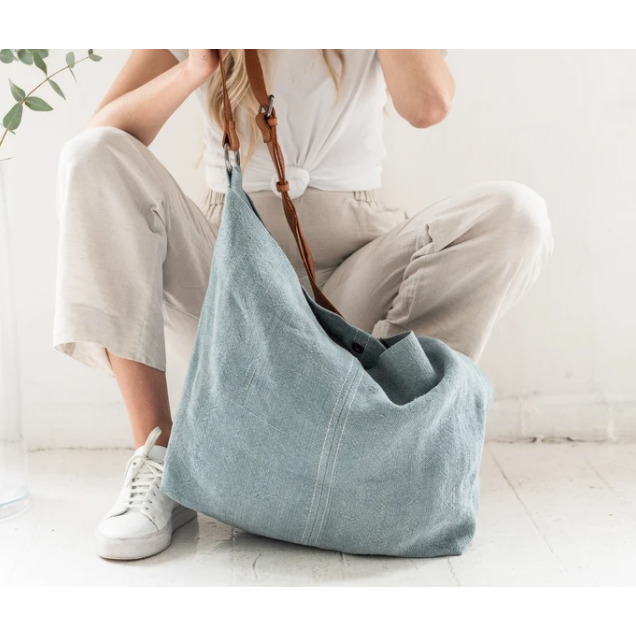 jute slouchy bag - french blue SFBJS