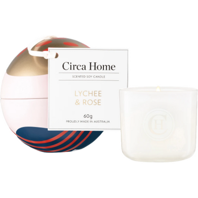 candle bauble tin- lychee & rose 60g