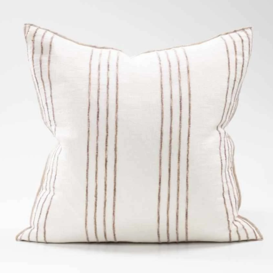 rock pool cushion white linen organic stripe 60x60