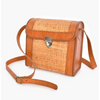 rattan leather trim buckle front cross body bag - axa-2108