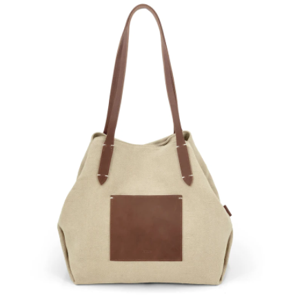 leather trimmed natural tote bag - beige l04t01-bei