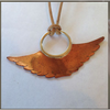 JJ wings copper on leather necklace