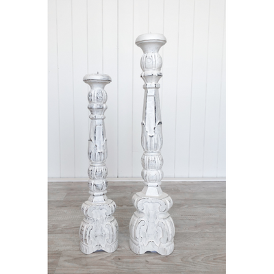 Pillar candle holder - distressed white