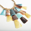 Resin Layered Paddle Necklace AND-1223-TEALTANX