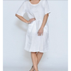 Selina 1/2 Sleeve Front Pocket Linen Dress - CA19107-1 - White