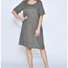 Selina 1/2 Sleeve Front Pocket Linen Dress - CA19107-4 - Khaki