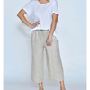 Wide Leg Long Linen Pant - CA19112-6 - Natural