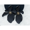 Large Orchid Flower Stud Earring - ZB-2000 - Black