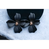 Small Orchid Flower Stud Earring - ZB-2001 - Black