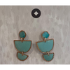 Zara Drop Stud Earrings - Aqua / Copper