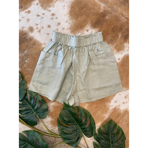 Linen Pocket Shorts - N19100306 - Sage