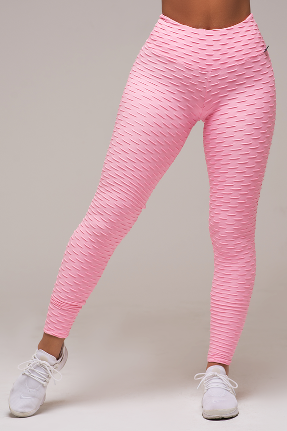 Pink Textured Anti-Cellulite Leggings
